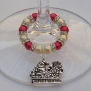 Santa Sleigh Wine Glass Charm - Full Sparkle Style